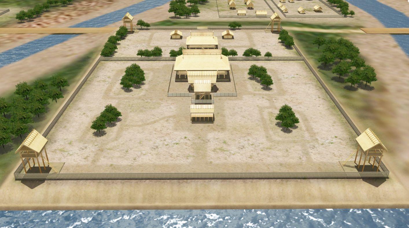 纒向遺跡 居館域の復元イメージ