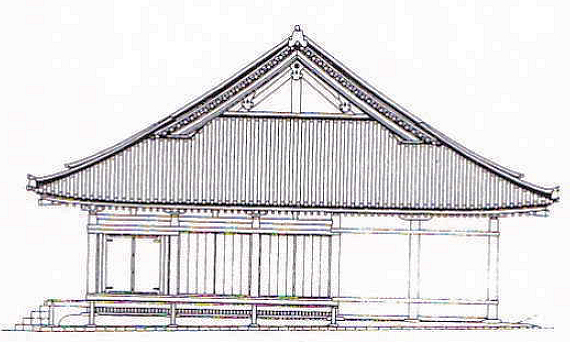 大直禰子神社社殿 側面図