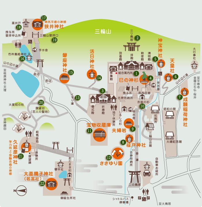 大神神社 境内詳細マップ(引用:公式サイト)