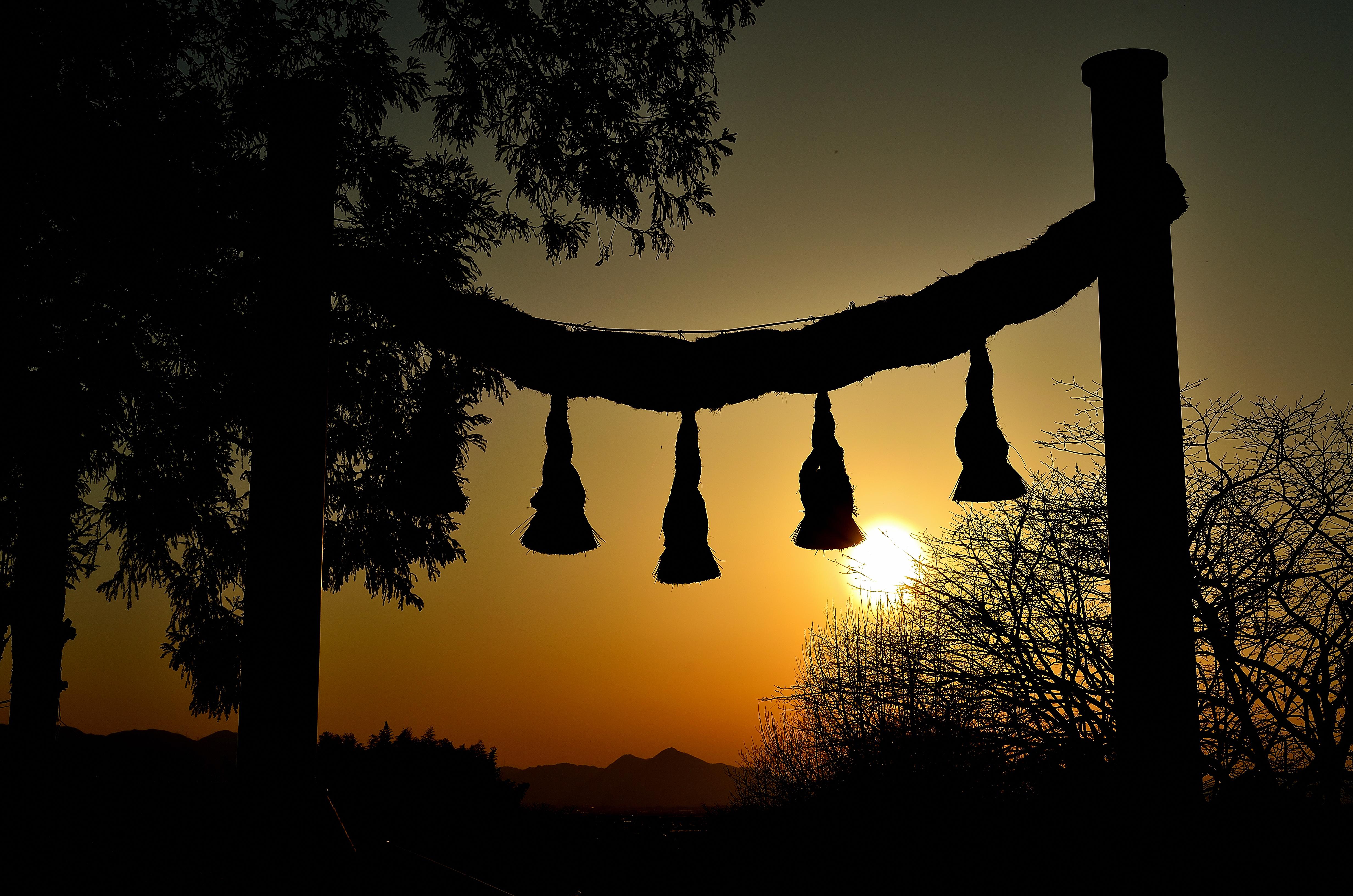 檜原神社 夕景
