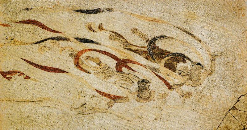 法隆寺金堂 内陣旧壁画(飛天図)