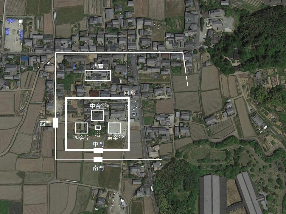 飛鳥寺跡の寺域と伽藍配置