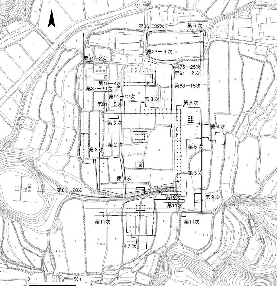 山田寺跡 調査次数と区域