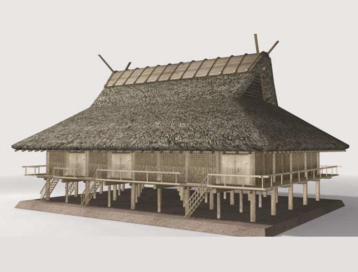 纒向遺跡 辻地区の建物群(建物D)復元イメージ