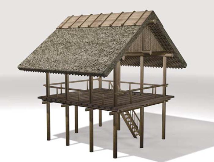 纒向遺跡 辻地区の建物群(建物B)復元イメージ